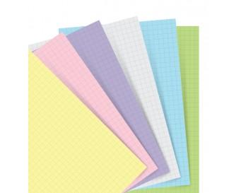 Náplň pro Filofax kapesní - papír čtverečkovaný, pastelový